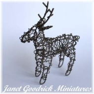 Brown Wire Dolls House Reindeer Christmas Decor