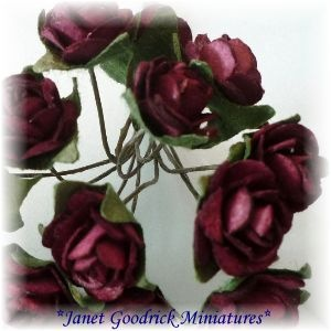 Bunch of Burgundy Paper Cabbage Roses