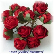 Bunch of Red Paper Cabbage Roses